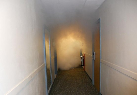 Picture of smoke filled hallway
